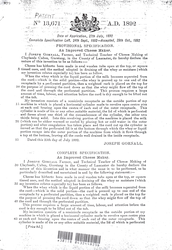 Joseph Gornall's Patent for An Improved Cheese