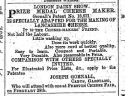 Advert for Prize Medal Cheesemaker, Preston